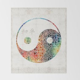 Yin And Yang - Colorful Peace - By Sharon Cummings Throw Blanket
