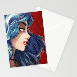 Sapphire haired girl Stationery Cards