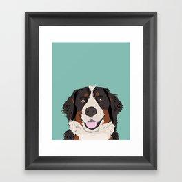 Bernese Mountain Dog pet portrait dog art illustration fur baby dog breed unique gift for dog lover  Framed Art Print
