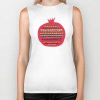 pomegranate Biker Tanks featuring Pomegranate by Picomodi