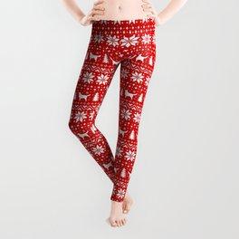 Nova Scotia Duck Tolling Retriever Silhouettes Christmas Sweater Pattern Leggings