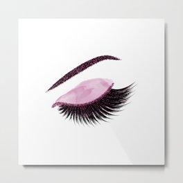 Glittery burgundy lashes Metal Print