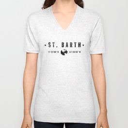 St. Barth geographic coordinates Unisex V-Neck