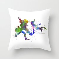 captain hook Throw Pillows featuring Peter Pan and Captain Hook in watercolor by Paulrommer