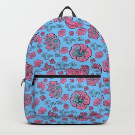 Soft Pastel Pink and Blue floral 'Not Your Babe' print Backpack