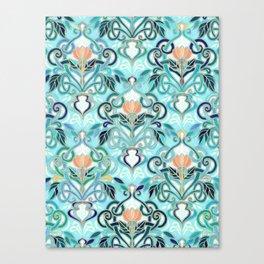 Ocean Aqua Art Nouveau Pattern with Peach Flowers Canvas Print
