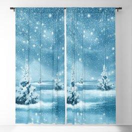 Christmas Winter Wonderland Snow Night Blackout Curtain