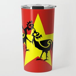 Vietnam Flag, Roosters Sparring Travel Mug