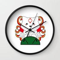 okami Wall Clocks featuring Baby Okami by Murphis the Scurpix
