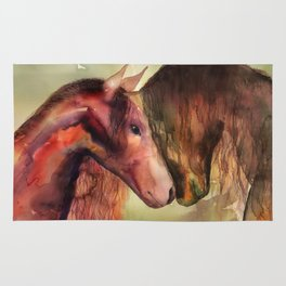 Two Horses watercolor painting Rug
