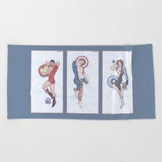 Superhero Pinup Trio (Stark Spangled Winter) Beach Towel