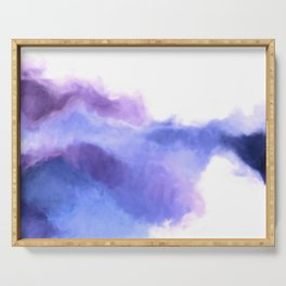 Purple Sky, White Light - abstract Serving Tray