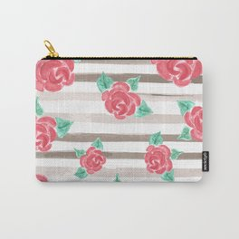 Stripes and Roses // Watercolor Carry-All Pouch