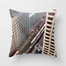 Chicago El Train Tracks Original Color Photo Throw Pillow