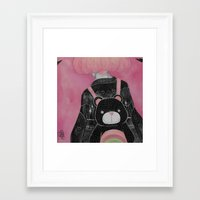 loll3 Framed Art Prints featuring T e d d y  by lOll3
