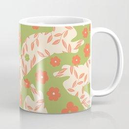 Green Orange Floral Rabbits Coffee Mug