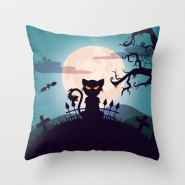 Cat in The Moon light Throw Pillow