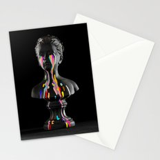 The Girl With Stars In Her Eyes (Black Background) Stationery Cards