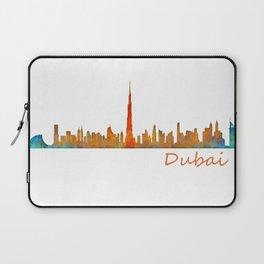 Dubai, emirates, City Cityscape Skyline watercolor art v1 Laptop Sleeve