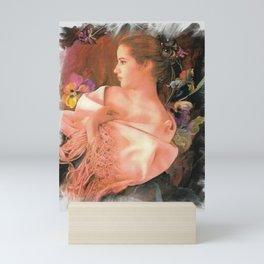 """"""" Fine Lady In Her Pink Shawl """" Mini Art Print"""