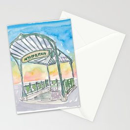 Paris France Metropolitain Entrance to Subway Stationery Cards
