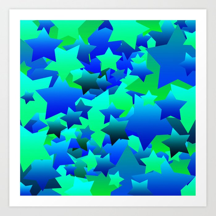 bubble stars blue art print by blakcirclegirl society6