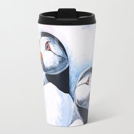 Puffins - I watch over you, little brother - by LiliFlore Travel Mug