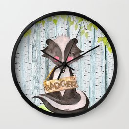 Badger- Woodland Friends- Watercolor Illustration Wall Clock