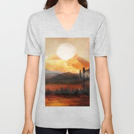 Desert in the Golden Sun Glow Unisex V-Neck