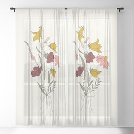Wildflowers Bouquet Sheer Curtain