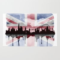 british flag Area & Throw Rugs featuring Great British Flag London Skyline 2 by Paint the Moment
