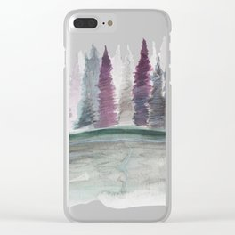 Spruce Tress by the Lake II Clear iPhone Case