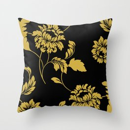 Victorian Floral (Black & Gold) Throw Pillow