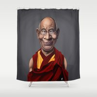 lama Shower Curtains featuring Celebrity Sunday ~ Dalai Lama by rob art   illustration