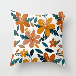 Tropical Holiday Florals – Ochre & Teal Throw Pillow