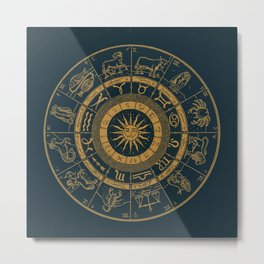 Vintage Zodiac & Astrology Chart | Royal Blue & Gold Metal Print