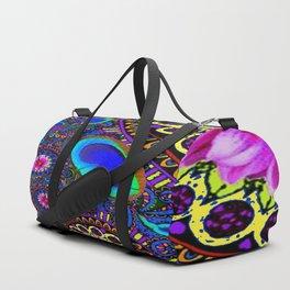 BOHEMIAN BLUE GYPSY PEACOCK FUCHSIA FLORAL Duffle Bag