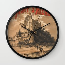 Vintage French Travel Poster: Mont Saint-Michel (1895) Wall Clock