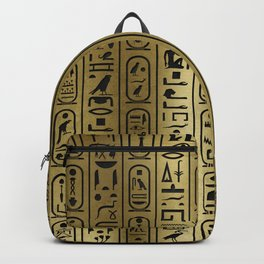 Black hieroglyphs pattern on Ancient Gold Backpack
