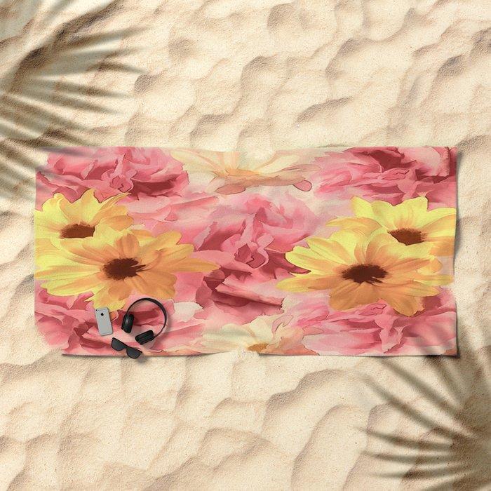 Summer Day Floral Beach Towel