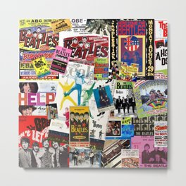 British Rock and Roll Invasion Fab Four Vintage Concert Rock and Roll Photography / Photographs Collage Metal Print