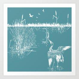 Orienal Exotic Heron & Birds on a Lake Print - Blue Art Print