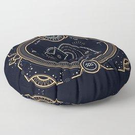 Aquarius Zodiac Golden White on Black Background Floor Pillow