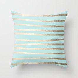 Simply Drawn Stripes White Gold Sands on Succulent Blue Throw Pillow