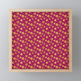 Pattern with Baby Feet  and Hearts in gold color Framed Mini Art Print