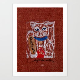 Cooperative Gilded Adventure Lucky Cat Art Print