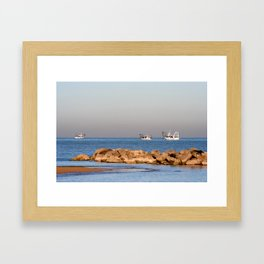 Boats In Offshore Waters Framed Art Print
