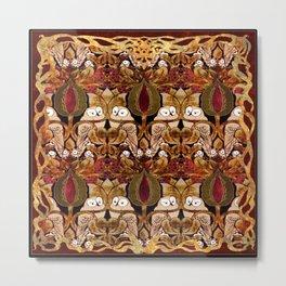 Art Nouveau Owls Metal Print