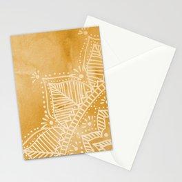 Mandala flower on watercolor background - orange Stationery Cards