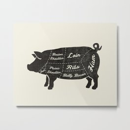 PORK BUTCHER DIAGRAM (pig) Metal Print